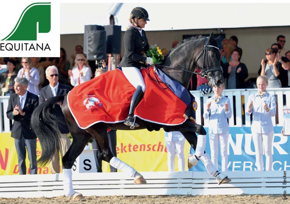 Er lässt die Herzen der Dressurfans höher schlagen: Weltmeister Sezuan, der von Dorothee Schneider ausgebildet wird, hier bei der Siegerehrung in Verden.