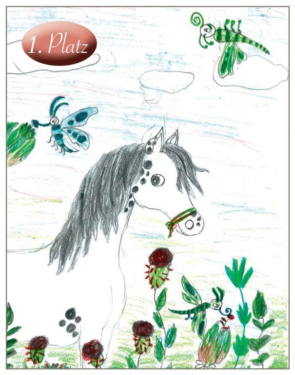 1. Lisa Maria Madla (9) Lisa hat das Thema wunderbar getroffen und ein echtes Traumpferd gemalt. Das Bild ist sehr schön ausgeschmückt mit vielen phantasievollen