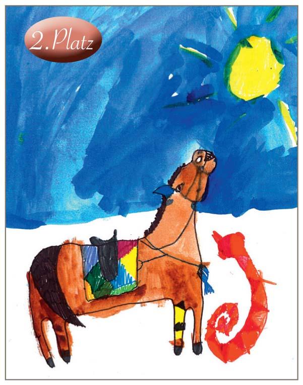 2. Kira Lieven (6) Dies ist eine sehr außergewöhnliche Präsentation eines Traumpferdes. Das Bild hebt sich von allen anderen Einsendungen ab. Es ist besonders farbenfroh.