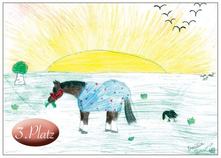 3. Emilia Luise Krämer (9) Dieses Bild strahlt eine ganz besondere und beruhigende Atmosphäre aus: Ein Traumpferd in einer Traumwelt, überstrahlt von glänzendem Sonnenlicht.