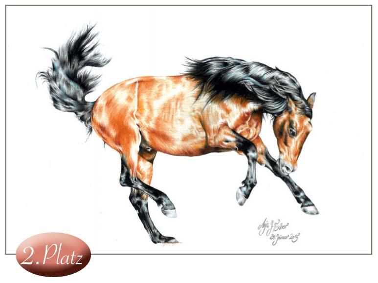 2. Platz: Anja Fischer (16) Diese dynamische Darstellung eines Pferdes ist technisch außergewöhnlich perfekt. Man kann kaum glauben, dass Anja erst 16 Jahre alt ist.