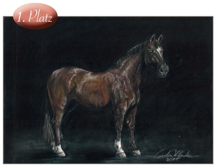 1. Platz: Carolin Klemke (17) Carolin schreibt über den Charakter ihres Pferdes und hat es verstanden, diesen auch im Bild umzusetzen. Eine hervorragende Leistung in schwieriger Maltechnik.