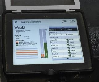 Die Futterzuteilung im Fressstand erfolgt computergesteuert, jedes Pferd trägt einen Chip.